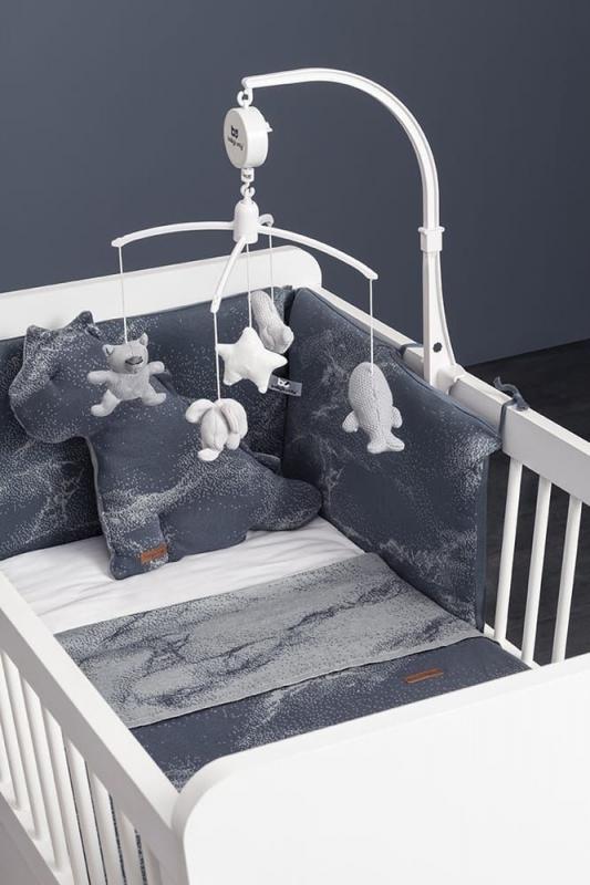 Babys Only Bettnestchen Marble, Cool Grey Lila