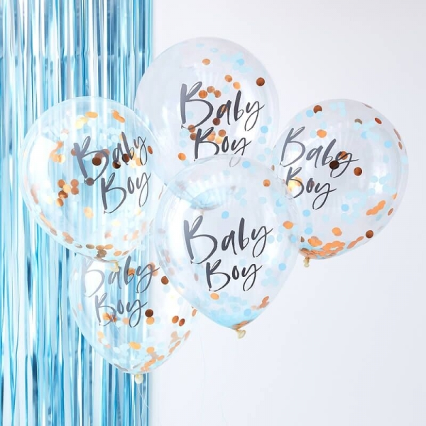 Ginger Ray Rose Gold & Blaue Konfetti Ballone, Baby Boy