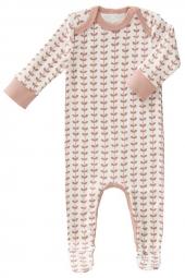 Fresk Babypyjama Bio-Baumwolle, mit Füsschen, Leaves Mellow Rosa