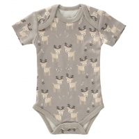 Fresk Babybody Bio-Baumwolle, kurzarm, Deer Forest Grey