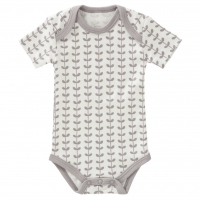 Fresk Babybody, kurzarm, Leaves Grey