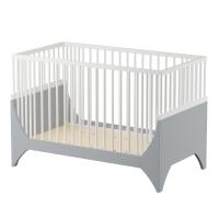 sebra Baby- & Kinderbett Yomi, Mondgrau/ weiss