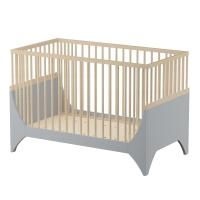 sebra Baby- & Kinderbett Yomi, Mondgrau/ Buchenholz