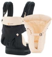 Ergobaby Babytrage 360° 4-Positionen Bundle, Black/Camel (von-Geburt-an Paket)