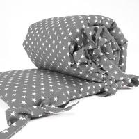 Sugarapple Bettnestchen für Beistellbett 150 x 25 cm, Grau / Sterne Weiss