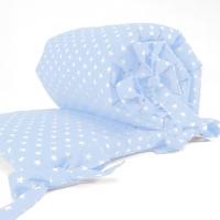 Sugarapple Bettnestchen für Beistellbett 150 x 25 cm, Hellblau / Sterne Weiss