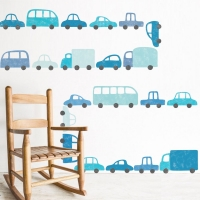 Tresxics textile Wandstickers, blaue Autos