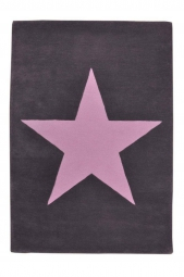 Lorena Canals Kinderteppiche Wolle Star, Dunkelgrau - Pink
