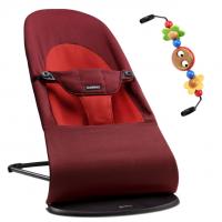 BabyBjörn Babywippe, Balance Soft Cotton, Rost / Orange mit Spielzeug