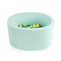 MISIOO Bällebad, 90x40 cm, Mint inkl. 200 Bälle (weiss/grau)