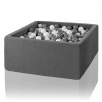 MISIOO Bällebad, 90x90x40 cm, Grau inkl. 200 Bälle (weiss/grau)