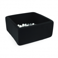 MISIOO Bällebad, 90x90x40 cm, Schwarz inkl. 200 Bälle (weiss/grau)