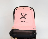 Kurtis Sonnen- & Windschutz für den Kinderwagen, Panda Rosa