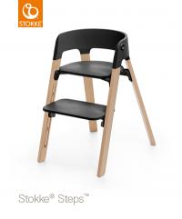STOKKE Steps Sitz Schwarz, Beine Eiche Natur