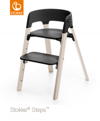 STOKKE Steps Sitz Schwarz, Beine Whitewash