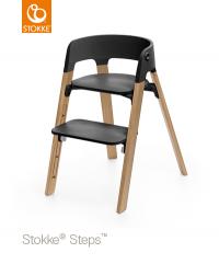 STOKKE Steps Sitz Schwarz, Beine Walnuss