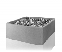 Misioo Bällebad XXXL, Hellgrau, 130x130x50cm inkl. 700 Bälle (weiss/grau)