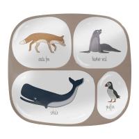 Sebra Melamin-Menüteller mit 4 Fächern, Arctic Animals