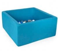 MISIOO Bällebad, 90x90x40 cm, Blau inkl. 200 Bälle (weiss/grau)