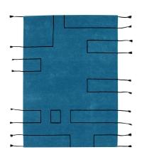 Lorena Canals Kinderteppich aus Wolle, Nordic Lines Vintage Petroleum