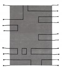 Lorena Canals Kinderteppich aus Wolle, Nordic Lines Vintage Light Grey