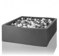 Misioo Bällebad XXL, Grau, 130x130x40cm inkl. 600 Bälle (weiss/grau)