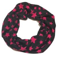 Schlauchschal, Schwarz/ pinke Sterne