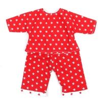 Sugarapple Puppen-Schlafanzug, Rot / Sterne Weiss