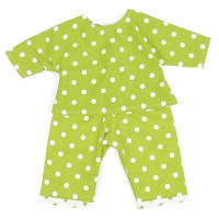 Sugarapple Puppen-Schlafanzug, Pünktchen Apfelgrün