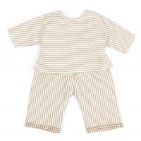 Sugarapple Puppen-Schlafanzug, Streifen Beige