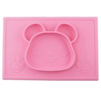 Milkii Silikon-Tischmatte mit integriertem Teller, Panda pink