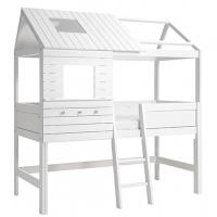 Lifetime Kidsrooms Silver Sparkle Hausbett mit schräger Leiter, Weiss lackiert