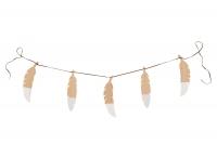 Nobodinoz Girlande aus Holz, Feathers White