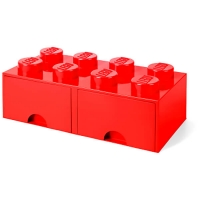 LEGO Drawer Brick 8, Aufbewahrungsbox, Rot