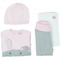 Boboli Baby Strick-Set (Hose+Pullover+ Mütze), Powder Pink