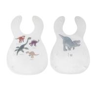 Sebra Kunststoff Lätzchen, 2er Pack, Dino