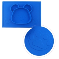 Milkii Silikon-Tischmatte mit integriertem Teller, Panda dunkelblau