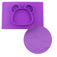 Milkii Silikon-Tischmatte mit integriertem Teller, Panda violet