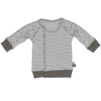 Snoozebaby Cardigan, Birds Storm Grey