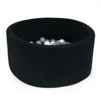 MISIOO Bällebad, 90x40 cm, Schwarz inkl. 200 Bälle (weiss/grau)