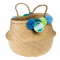 Rex London Aufbewahrungskorb - Pom Pom Belly Basket - Blau & Grün