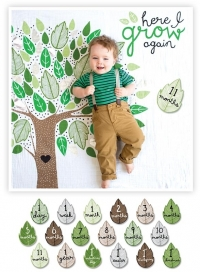 lulujo Babys First Year Swaddle-Blanket & Karten Set, Here l Grow again