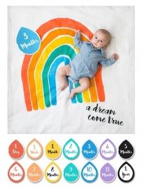 lulujo Babys First Year Swaddle-Blanket & Karten Set, A dream come true
