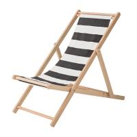 Bloomingville Deck Chair Gartenstuhl, Schwarz Weiss gestreift