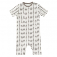 Fresk Babypyjama kurzarm, Leaves Grey