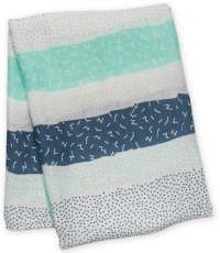 Lulujo Bambus Muslin Swaddle Mulltuch - Grey Spotted Lines