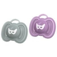 Herobility HeroPacifier Schnuller, Grey & Lilac, 0-6 M. - 2er Pack