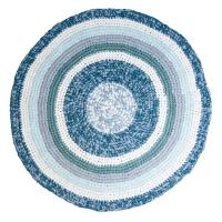 Sebra Häkelteppich, tannenblau melange