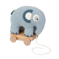 Sebra Häkel-Elefant auf Räder, Königsblau