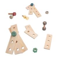 Sebra Bau-Spielset aus Holz, Warmgrau